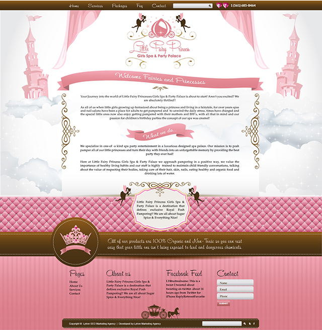 Little Girl Spa and Party Website Design